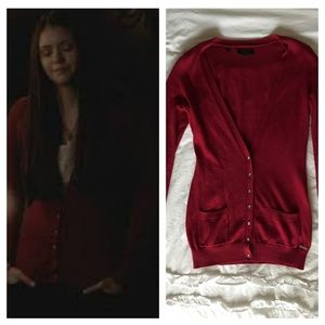 Guess Red Tammy Cardigan | ASO Elena Gilbert